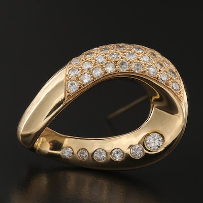 14K 1.23 CTW Diamond Oval Brooch