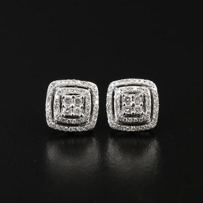 10K Framed Diamond Earrings