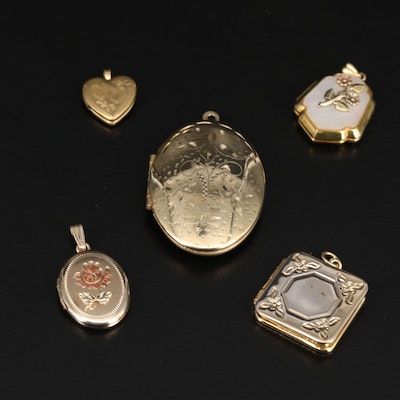 Vintage Lockets Including Mother of Pearl Accents and Gold Filled Pieces
