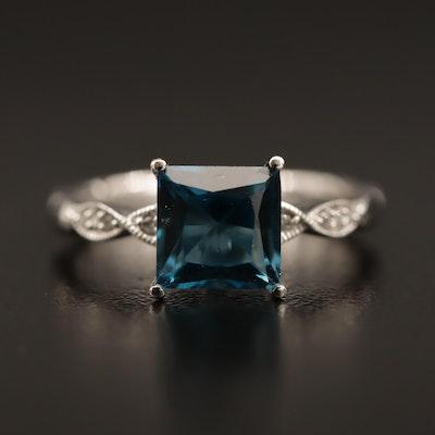 10K London Blue Topaz and Diamond Ring