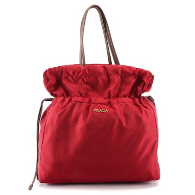 Prada Dark Red Nylon Satin Drawstring Tote with Brown Leather Trim