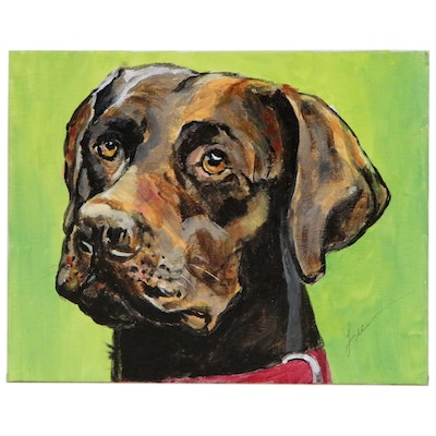 "C.J. Lee Acrylic Painting ""Chocolate Lab"", 2015"