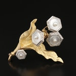 14K and 18K Mother of Pearl and Pearl Brooch with Platinum Flower Accents