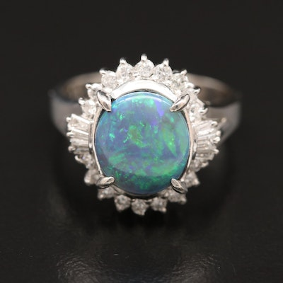 Platinum Opal and Diamond Halo Ring