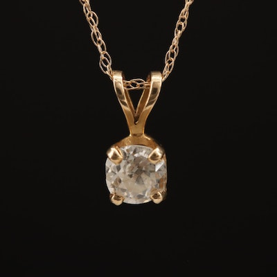 14K 0.34 CT Diamond Solitaire Pendant Necklace