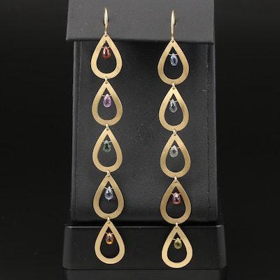 18K Multi-Color Sapphire Shoulder Duster Earrings