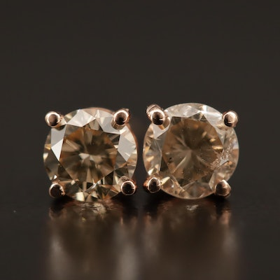 14K Rose Gold 0.99 CTW Diamond Stud Earrings