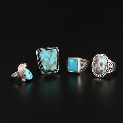 Sterling Silver Turquoise and Faux Turquoise Rings