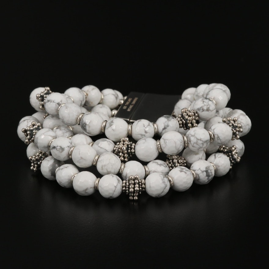 Michael Dawkins Four Strand Howlite Bracelet with Sterling Silver Accents