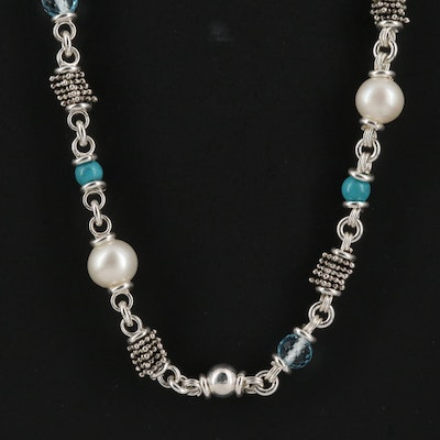 Michael Dawkins Sterling Silver Beaded Wire Necklace