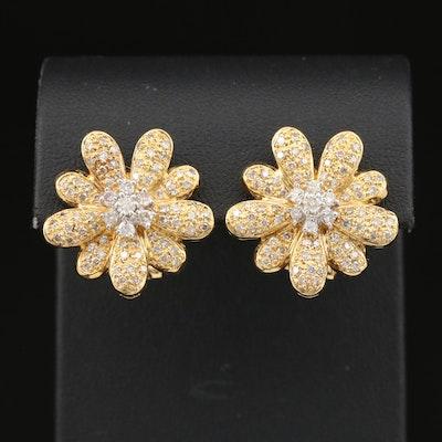 18K 2.00 CTW Diamond Flower Earrings