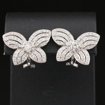 18K 1.16 CTW Diamond Earrings with Butterfly Wing Design
