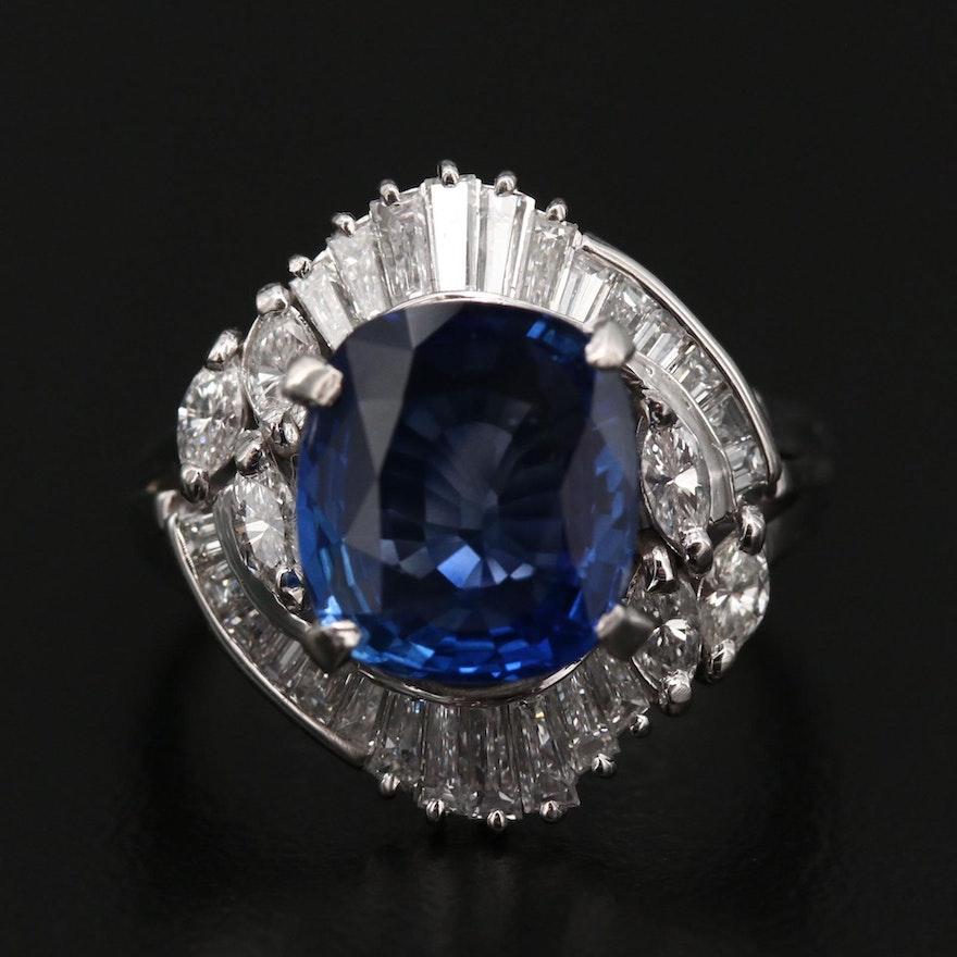 Platinum Sapphire Ballerina Ring with 1.06 CTW Diamonds