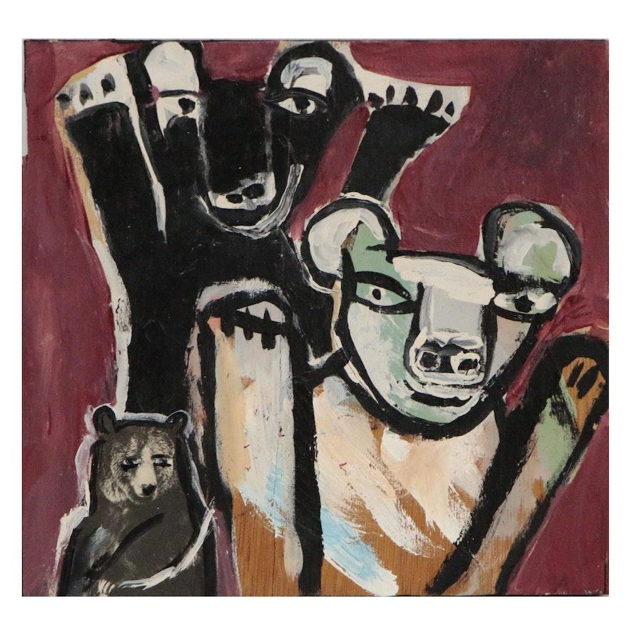 T. Marie Nolan Folk Art Acrylic Painting of Bears, 2015