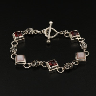 Michael Dawkins Sterling Silver Bracelet with Mother of Pearl and Garnet