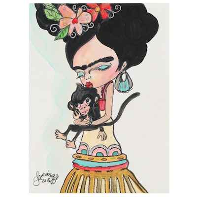 """Laurimar Alicea Abstract Mixed Media Painting """"Frida"""", 2015"""
