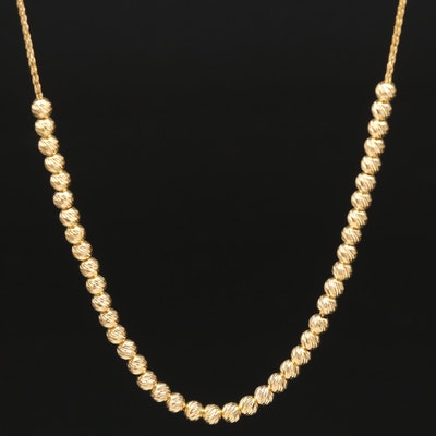 14K Textured Beads on Wheat Chain Necklace