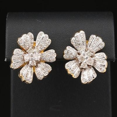 18K 1.10 CTW Diamond Flower Drop Earrings