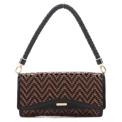 Burberry Prorsum Woven Textile Shoulder Bag with Black Leather Trim