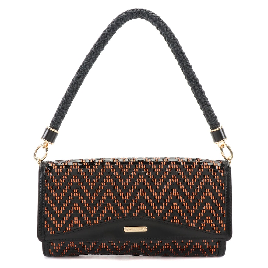 Burberry Prorsum Woven Textile Shoulder Bag with Black Leather Trim