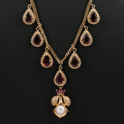 18K Pearl, Diamond, Garnet, Emerald and Ruby Fringe Necklace