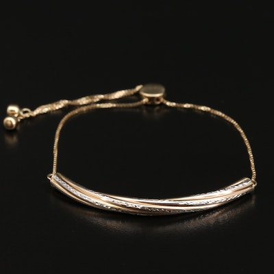 14K Bi-Color Diamond Cut Bar Bolo Bracelet