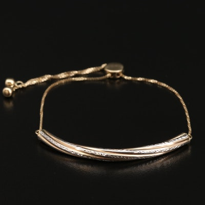 14K Bi-Color Diamond Cut Bar Bolo Bracelet