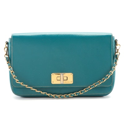 Prada Convertible Clutch Purse in Ottanio Saffiano Vernice Leather