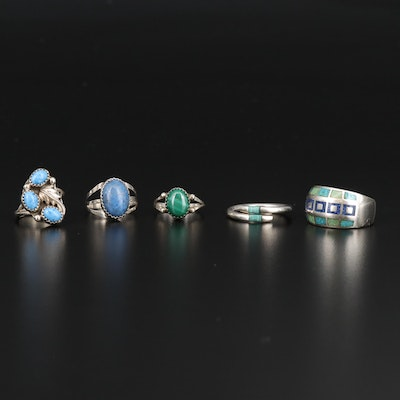 Sterling Silver Ring with Lapis Lazuli and Malachite