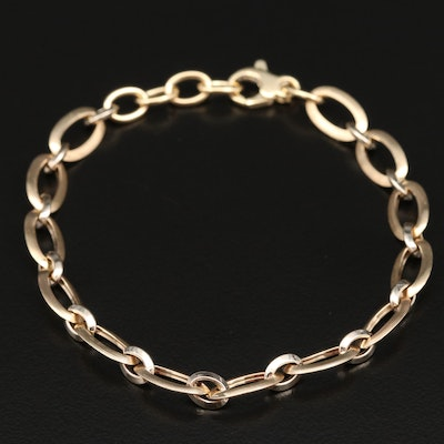 14K Two Tone Cable Chain Bracelet