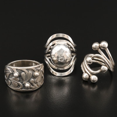 Sterling Silver Rings Featuring Silpada and Leaf Motif Ring