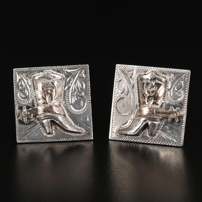 RMS Handmade Sterling Western Boot Cufflinks with 10K Accents