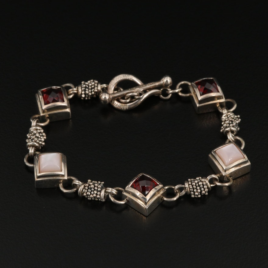 Michael Dawkins Sterling Garnet and Mother of Pearl Bracelet