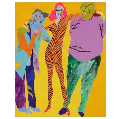Robert W. Hasselhoff Mixed Media Painting of Abstract Figures