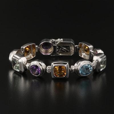 Sterling Amethyst, Topaz and Prasiolite Bracelet