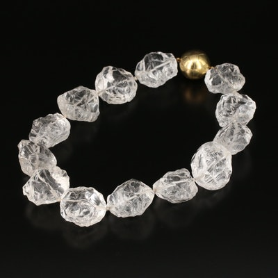 Rock Quartz Crystal Rough Cut Beaded and Knotted Necklace with 18K Clasp