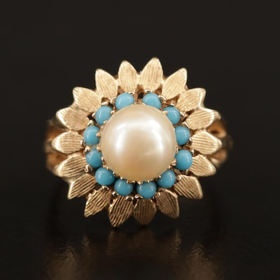Vintage 14K Pearl and Turquoise Floral Ring