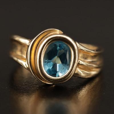 10K Blue Topaz Bezel Set Ring