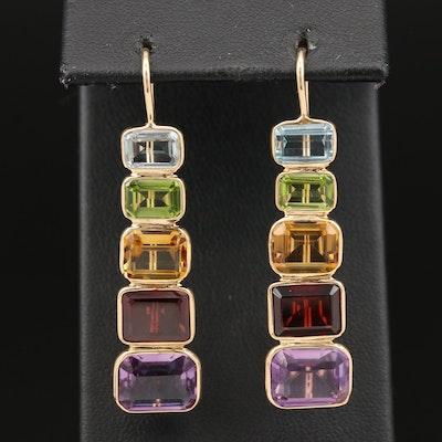 14K Rainbow Graduated Gemstone Drop Earrings Including Amethyst and Garnet