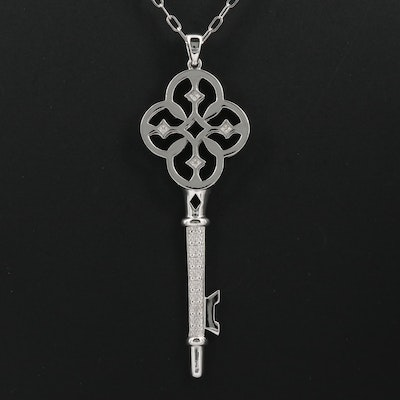 Sterling Silver Key Necklace with Diamond Accents