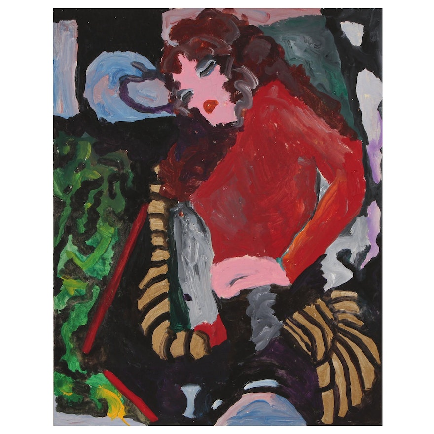 Robert W. Hasselhoff Double-Sided Acrylic Painting of Abstract Female Figure