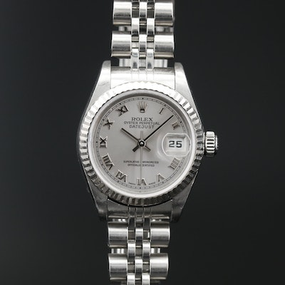 2004 Rolex Datejust Silver Roman Dial Wristwatch with 18K Bezel