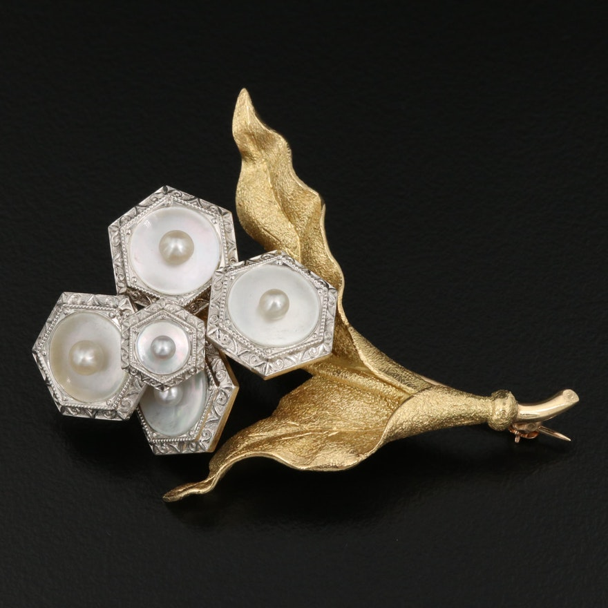 18K Pearl and Mother of Pearl Flower Brooch with Platinum Accents