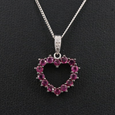 Sterling Silver Ruby Heart Pendant Necklace