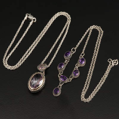 Sterling Silver Amethyst and Rhodolite Garnet Necklaces with 14K Accent