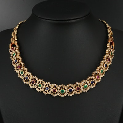18K 4.81 CTW Diamond and Gemstone Choker Necklace