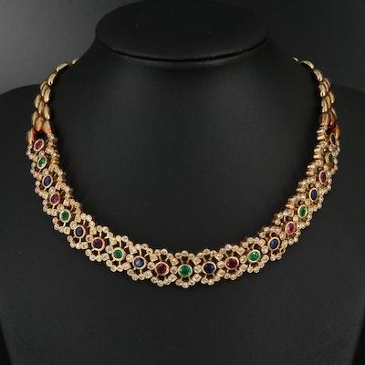 18K 4.81 CTW Diamond and Gemstone Choker Necklace