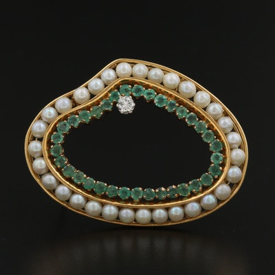 Vintage 18K Diamond, Emerald, and Pearl Brooch