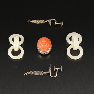 Vintage Carved Carnelian Pendant, Serpentine Pendants and Earrings Findings