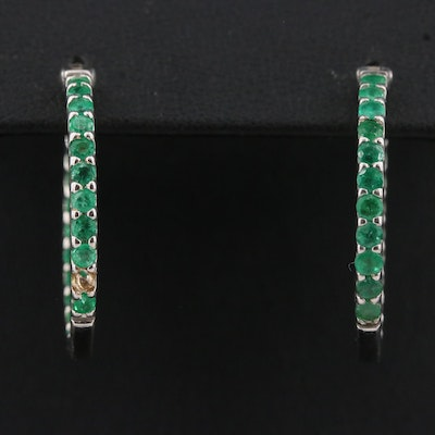 Sterling Silver Emerald Inside-Out Hoop Earrings